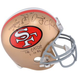 "Autographed San Francisco 49ers Dwight Clark Riddell Pro-Line Helmet with ""Drawn Play"" Inscription"
