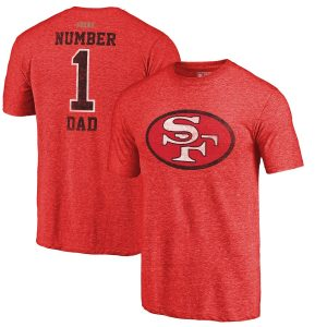 Men's San Francisco 49ers NFL Pro Line by Fanatics Branded Red Greatest Dad Retro Tri-Blend T-Shirt